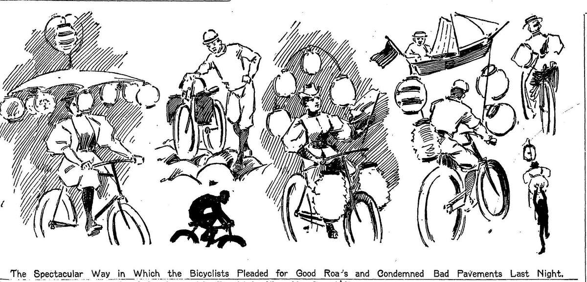Local bicycle enthusiasts rode through San Francisco to protest terrible road conditions July 26, 1896. Some bicyclists decorated their bike to further draw attention to their concerns.