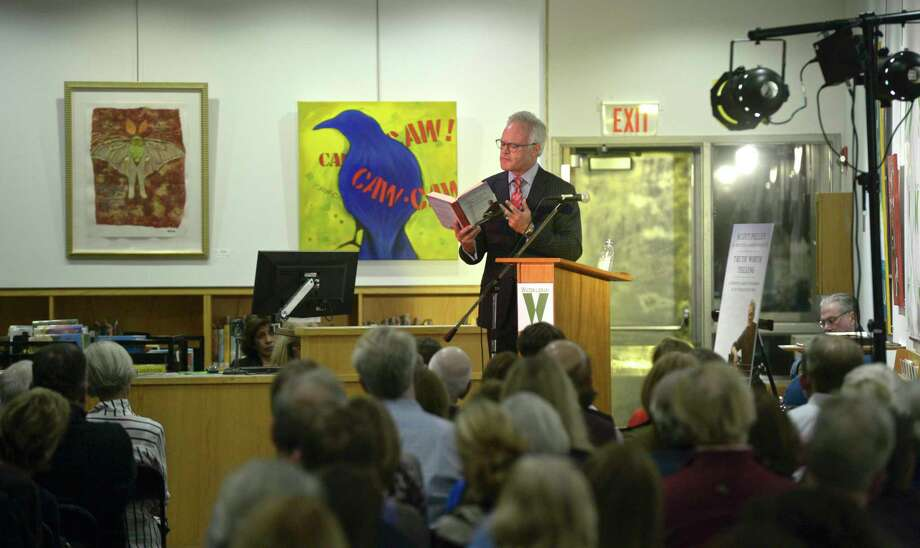 "60-Minutes correspondent Scott Pelley talks to a sold-out crown at the Wilton Library about his new book ""Truth Worth Telling"" , Thursday night, October 17, 2019, in Wilton, Conn. Photo: H John Voorhees III, Hearst Connecticut Media / The News-Times"