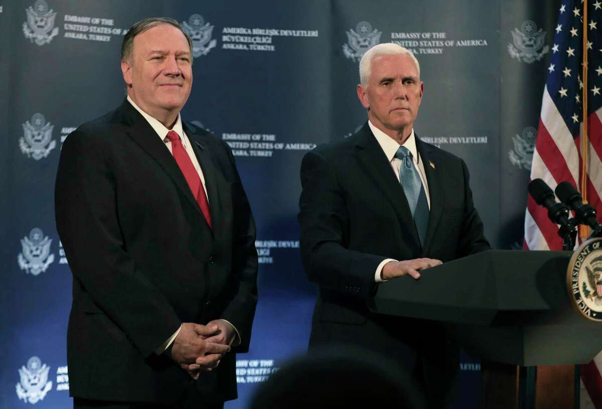 U.S. Vice President Mike Pence, right, speaks at the U.S. ambassador's residence during a news conference with Secretary of State Mike Pompeo, left, after their meeting with Turkish President Recep Tayyip Erdogan, in Ankara, Turkey, Thursday, Oct. 17, 2019. Pence announced that the U.S. and Turkey had agreed to a five-day cease-fire in northern Syria to allow for a Kurdish withdrawal from a security zone roughly 20 miles south of the Turkish border, in what appeared to be a significant embrace of Turkey's position in the week-long conflict. (AP Photo/Burhan Ozbilici)
