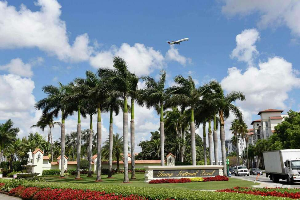 (FILES) This file photo taken on April 03, 2018 shows a view of the entrance of Trump National Doral in Miami, Florida. - US President Donald Trump has awarded hosting of the next G7 summit to one of his own Florida golf clubs, the White House said on Thursday, sparking accusations of corruption from the lawmakers and activists. The Trump National Doral Golf Club in Miami was