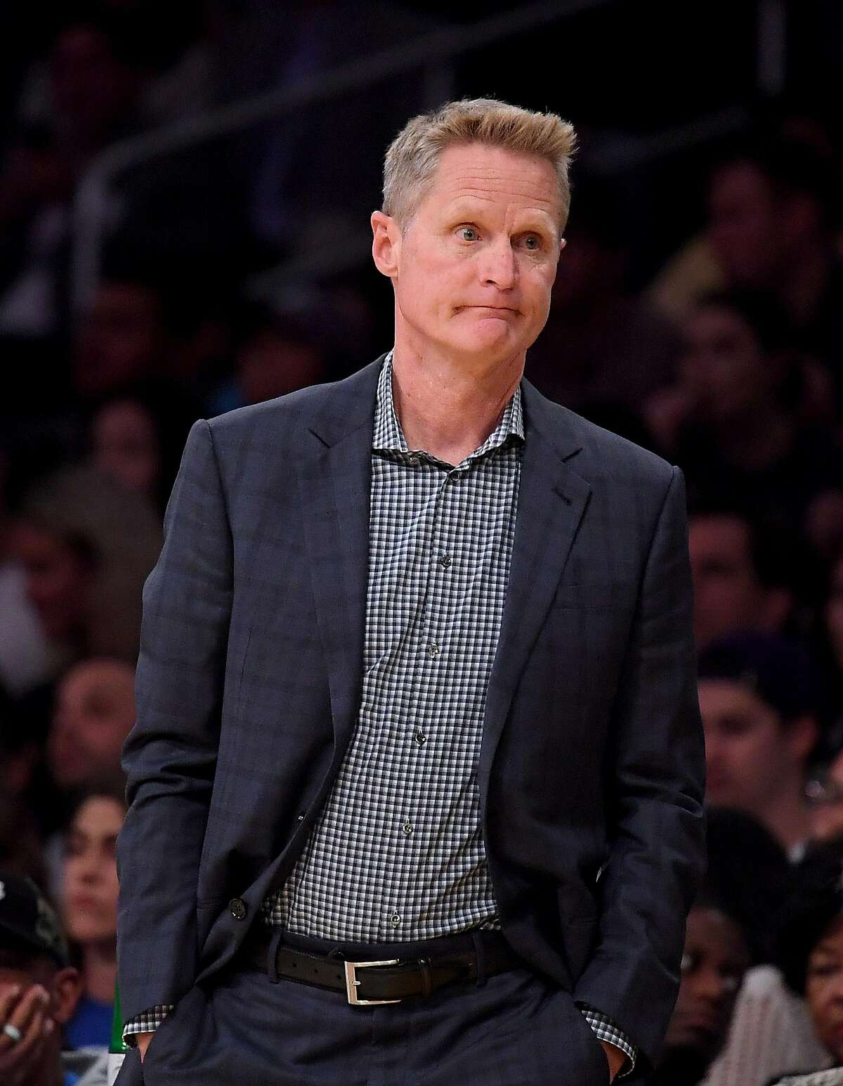 Head coach Steve Kerr of the Golden State Warriors reacts to play during the first half against the Los Angeles Lakers at Staples Center on October 14, 2019 in Los Angeles, California.