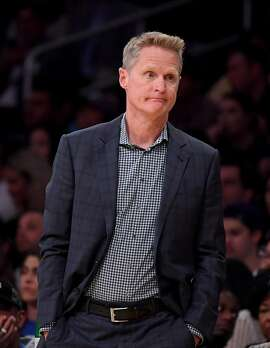 LOS ANGELES, CALIFORNIA - OCTOBER 14:  Head coach Steve Kerr of the Golden State Warriors reacts to play during the first half against the Los Angeles Lakers at Staples Center on October 14, 2019 in Los Angeles, California. (Photo by Harry How/Getty Images)