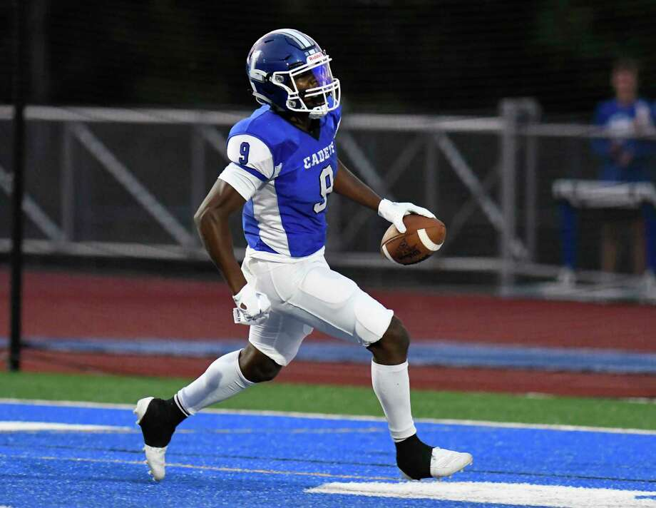 La Salle Institute's Traydon Lawrence (9) scores a touchdown against Troy during the first half of a Section II High School football game Friday, Sept. 6, 2019, in Troy, N.Y. (Hans Pennink / Special to the Times Union) Photo: Hans Pennink / Hans Pennink