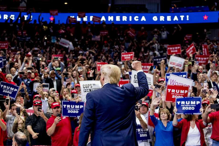 President Donald Trump takes the stage at a campaign rally at American Airlines Arena in Dallas in 2017. The following is a list of the Texas cities where Trump has raised the most money. Photo: Andrew Harnik, Associated Press