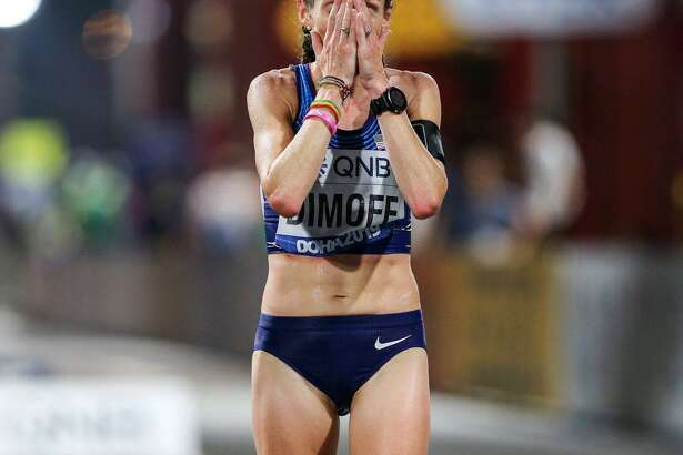 Wilton native Carrie (Strickland) Dimoff after finishing 13th in the women's marathon at the track and field world championships in Qatar.