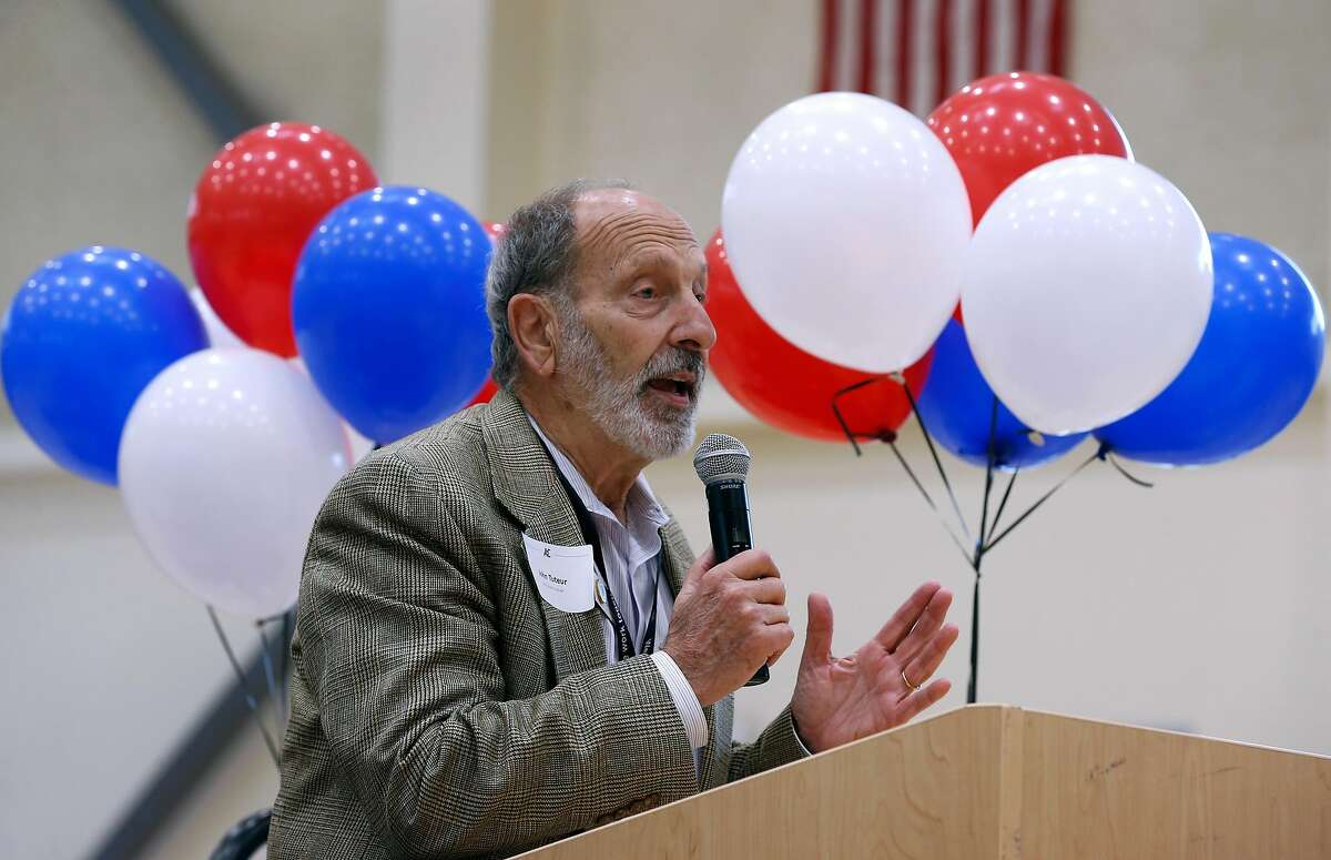 Napa County Registrar of Voters John Tuteur speaks to students at a voter registration rally at American Canyon High School in American Canyon, Calif. on Thursday, April 26, 2018.