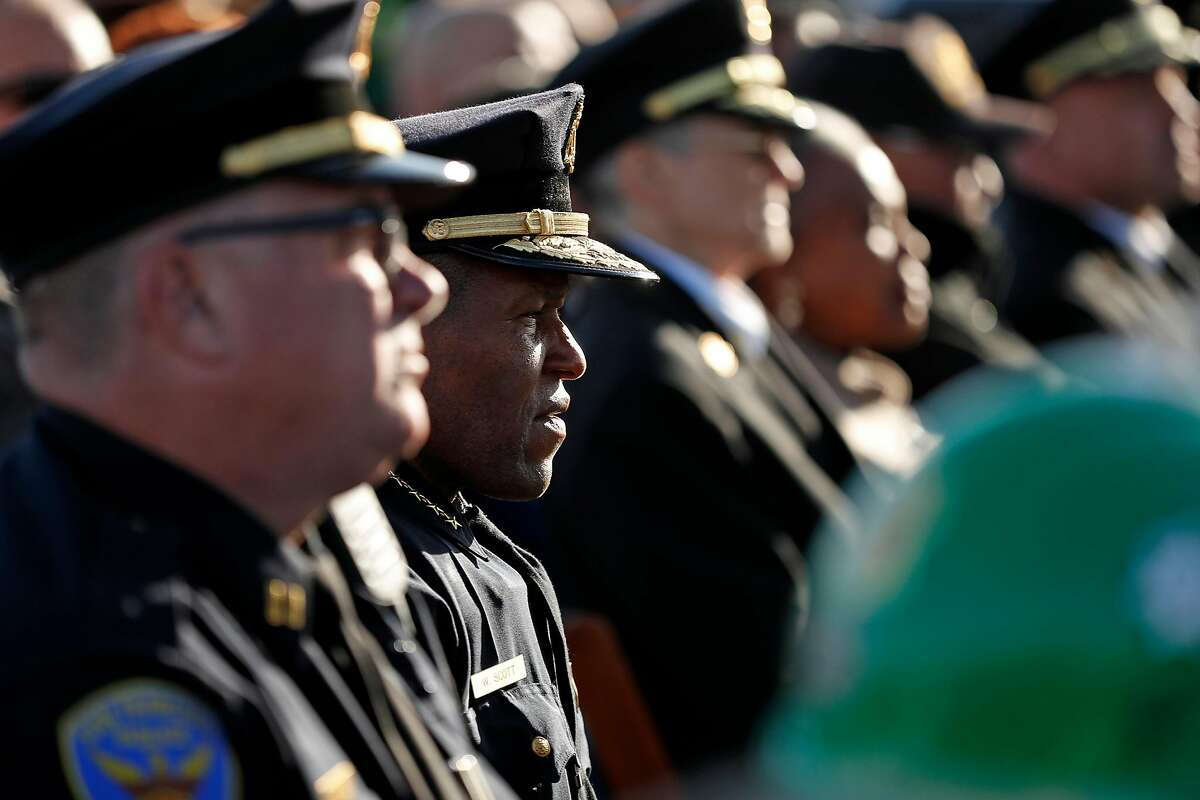 San Francisco Police Chief William Scott listens as Mayor London Breed speaks during ceremony commemorating the 30th anniversary of the 1989 Loma Prieta earthquake in San Francisco, Calif., on Thursday, October 17, 2019.