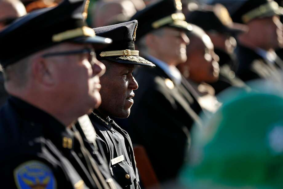San Francisco Police Chief William Scott listens as Mayor London Breed speaks during ceremony commemorating the 30th anniversary of the 1989 Loma Prieta earthquake in San Francisco, Calif., on Thursday, October 17, 2019. Photo: Scott Strazzante / The Chronicle