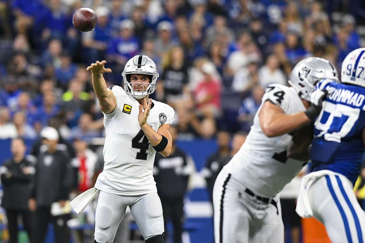 Oakland Raiders quarterback Derek Carr (4) during the first half of an NFL football game against the Indianapolis Colts in Indianapolis, Sunday, Sept. 29, 2019. (AP Photo/Doug McSchooler)