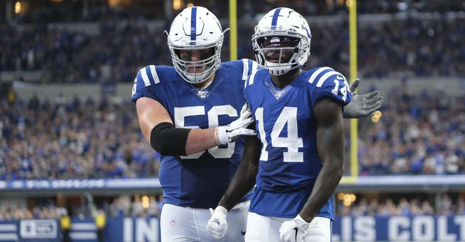 PHOTOS: Texans vs. Chiefs Indianapolis Colts wide receiver Zach Pascal (14) reacts with offensive guard Quenton Nelson (56) during the second half of an NFL football game against the Atlanta Falcons, Sunday, Sept. 22, 2019, in Indianapolis. (AP Photo/AJ Mast) Photo: AJ Mast/Associated Press