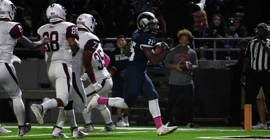 Cy Ridge junior running back Tristian Fletcher (25) skips into the end zone on his first quarter touchdown run against the Northbrook defense during their District 17-6A matchup at Pridgeon Stadium in Cypress on Oct. 17, 2019. Photo: Jerry Baker/Contributor
