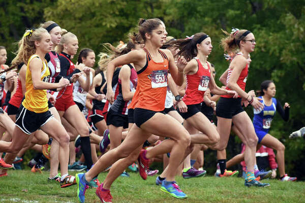 Edwardsville runner Abby Korak, front, gets off to quick start at last year's Class 3A Quincy Regional. Korak will likely not be able to run during her senior season due to an injury.