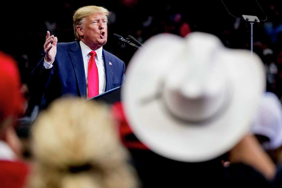 President Donald Trump speaks at a campaign rally at American Airlines Arena in Dallas, Texas, Thursday, Oct. 17, 2019. Photo: Andrew Harnik, AP / Copyright 2019 The Associated Press. All rights reserved