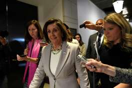 House Speaker Nancy Pelosi of Calif., is followed by reporters as she walks on Capitol Hill in Washington, Thursday, Oct. 17, 2019, near the area where U.S. Ambassador to the European Union Gordon Sondland is being interviewed as part of the impeachment inquiry.