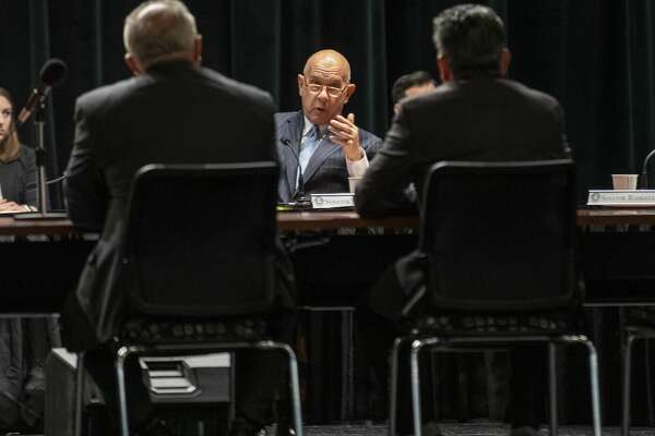 State Sen. John Whitmire asks Odessa mayor David Turner, left, and Midland mayor Jerry Morales a question during the Senate Committee on Mass Violence Prevention on Thursday at Odessa College's Deadrick Hall.