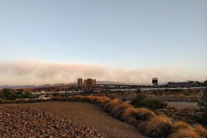 The National Weather Service posted an image of a massive cloud of dust that formed in Las Vegas Valley Thursday, October 17, 2019.