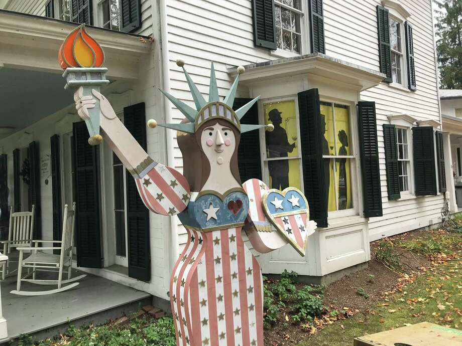 A small replica of the Statue of Liberty in front of the Westport Museum for History and Culture. Taken Oct 8, 2019 in Westport, Conn. Photo: DJ Simmons /Hearst Connecticut Media