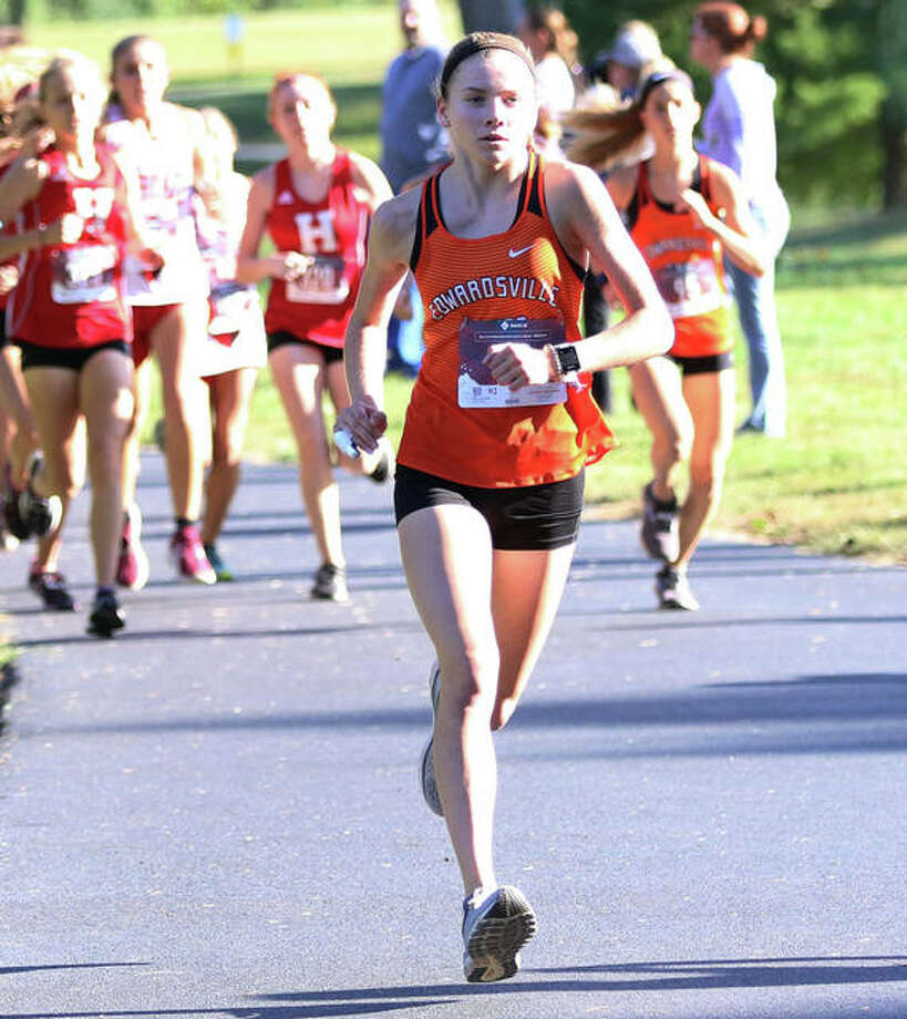 Edwardsville freshman Riley Knoyle, shown on her way to victory at the Madison County Meet on Oct. 8 at Belk Park in Wood River, added another win Thursday at the Southwestern Conference Meet at Moore Park in Alton. Photo: Greg Shashack / The Telegraph