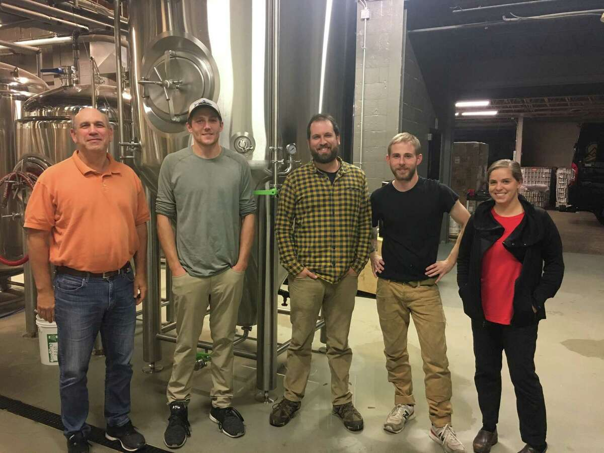 Rob Kaye, Chris Greeney, Dave Kaye, Kyle Acenowr, and Sara Kaye are celebrating two years of business at Nod Hill Brewery on Route 7 in Ridgefield.
