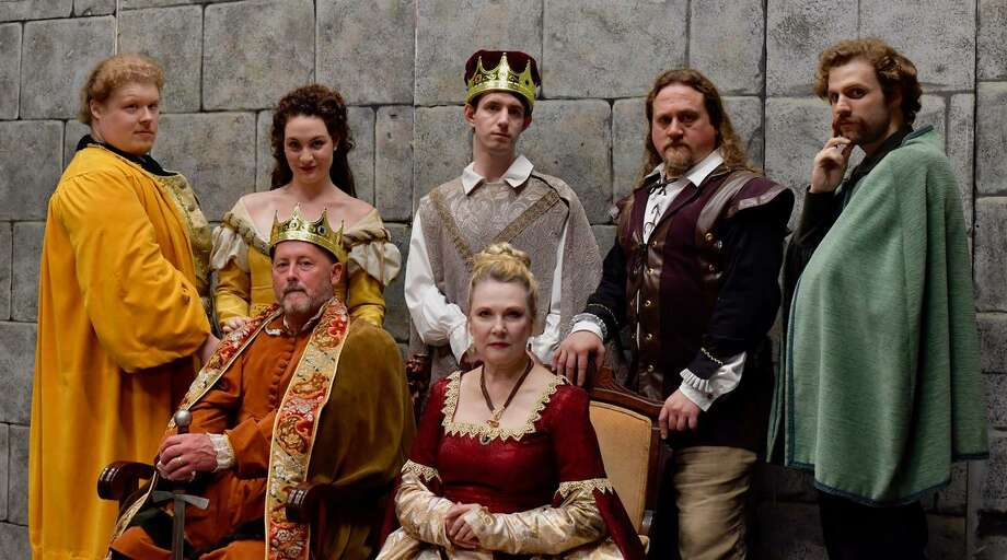 "The cast of ""The Lion in Winter"" includes, standing from left, Kellen Schult, Sally Rose Zuckert, Patrick Kelly, John R. Smith Jr., and Tyler C. Small. Seated are John Bachelder and Deborah Carlson. The play opens Oct. 25 at the Wilton Playshop. Photo: Skip Ploss / Wilton Playshop / Wilton Bulletin Contributed"