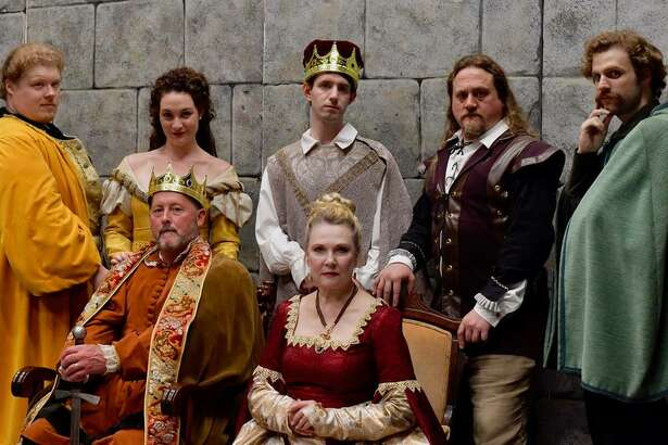 """The cast of """"The Lion in Winter"""" includes, standing from left, Kellen Schult, Sally Rose Zuckert, Patrick Kelly, John R. Smith Jr., and Tyler C. Small. Seated are John Bachelder and Deborah Carlson. The play opens Oct. 25 at the Wilton Playshop."""