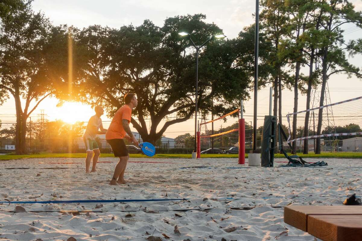 The Powder Keg bar at 1300 Brittmoore Rd. features a dog park and sand volleyball courts.