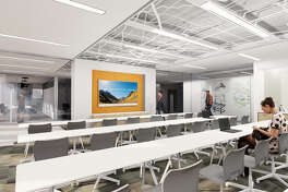 Stantec Architecture designed the 23,000-square-foot workplace interiors at One Shell Plaza. The conference room is shown.