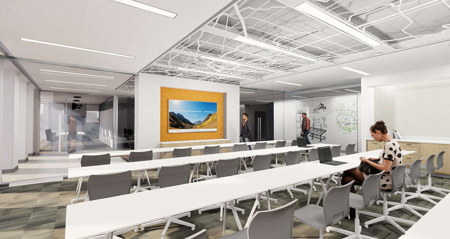 Stantec Architecture designed the 23,000-square-foot workplace interiors at One Shell Plaza. The conference room is shown. Photo: Stantec