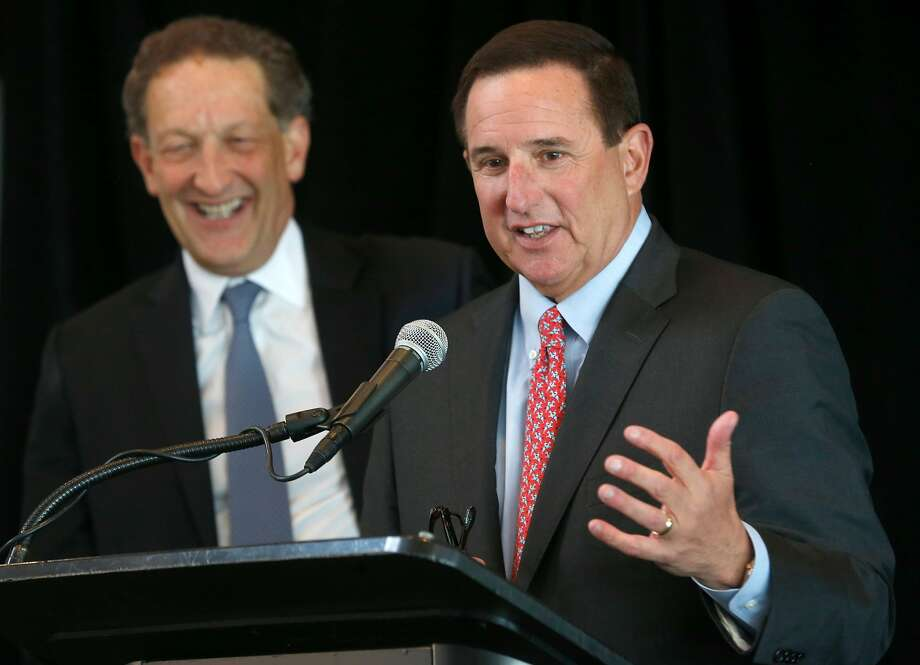 Oracle CEO Mark Hurd (right) appears at a news conference with Giants president and CEO Larry Baer to announce that the name of the Giants' ballpark will be Oracle Park in San Francisco, Calif. on Thursday, Jan. 10, 2019, ending a longterm relationship with AT&T. Photo: Paul Chinn / The Chronicle
