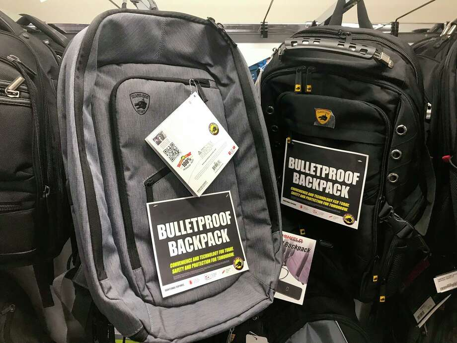 Bulletproof backpacks for sale at an Office Depot store in Evanston, Ill. Photo: Associated Press / AP
