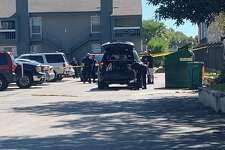 One man, who San Antonio police said was slashing tires at a North Side apartment complex, has been hospitalized in critical condition after a resident apparently shot him, according to San Antonio Police Chief William McManus.