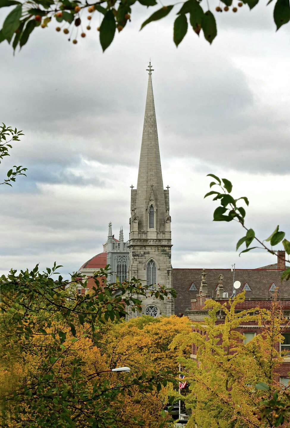 A church steeple rises above fall foliage on Friday, Oct. 18, 2019 in Troy, N.Y. (Lori Van Buren/Times Union)
