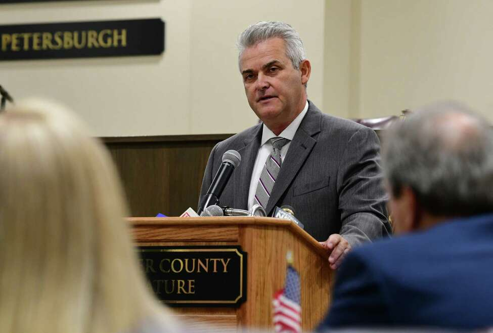 Rensselaer County Executive Steve McLaughlin presents his proposed 2020 county budget at the Rensselaer County Legislature on Friday, Oct. 18, 2019 in Troy, N.Y. (Lori Van Buren/Times Union)