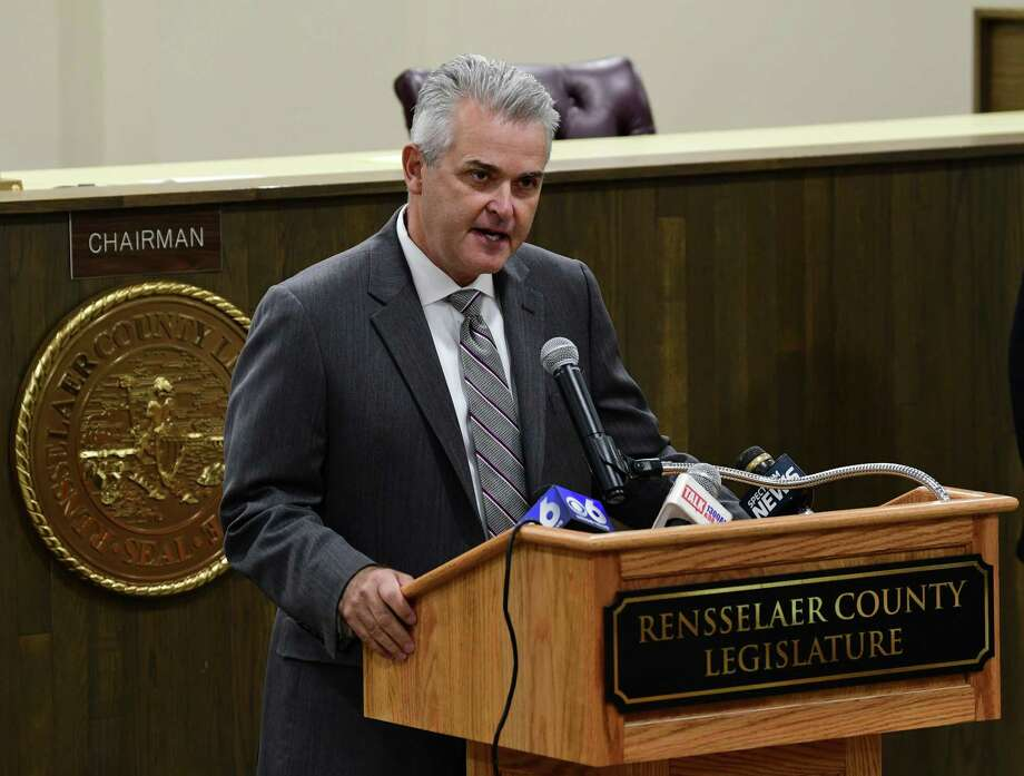Rensselaer County Executive Steve McLaughlin presents his proposed 2020 county budget at the Rensselaer County Legislature on Friday, Oct. 18, 2019 in Troy, N.Y. (Lori Van Buren/Times Union) Photo: Lori Van Buren, Albany Times Union / 20048036A
