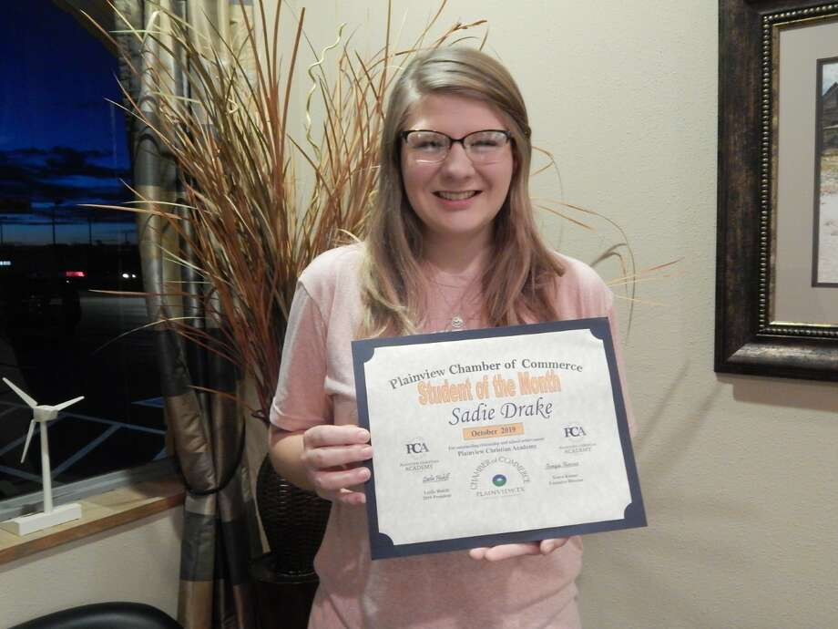 Sadie Drake, a Plainview Christian Academy senior, was recognized this week as the Chamber of Commerce's student of the month for October. Photo: Courtesy Photos/Plainview Chamber Of Commerce