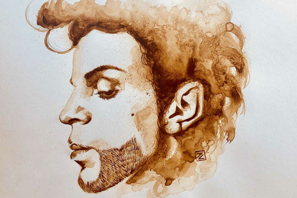 Jarold Cadion makes portraits of celebrities like Prince and Frida Kahlo using coffee.
