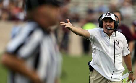 COLLEGE STATION, TEXAS - SEPTEMBER 21: Head coach Jimbo Fisher of the Texas A&M Aggies argues with officials during the first quarter against the Auburn Tigers at Kyle Field on September 21, 2019 in College Station, Texas. (Photo by Bob Levey/Getty Images)