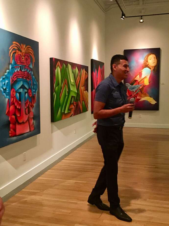 Mexican artist Jesus Sanchez shares about his work at the New American Festival on Saturday, Oct. 12. Photo: Courtesy ByCenter For Houston's Future