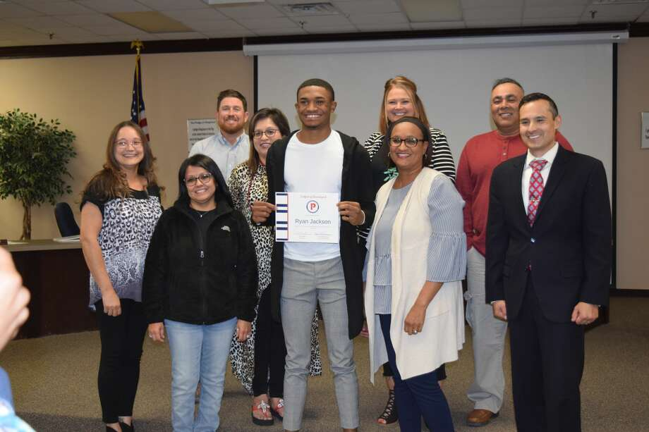 Ryan Jackson is recognized for being selected by Panhandle-Plains Basketball Magazine's 2nd Team Super Team for basketball during a Plainview ISD Board meeting Tuesday night. Photo: Ellysa Harris/Plainview Herald