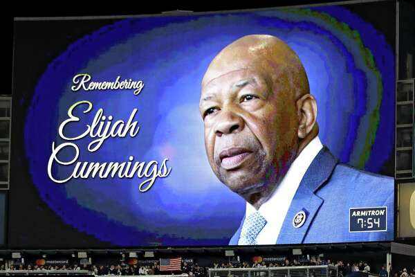 A moment of silence is held in honor of Elijah Cummings prior to game four of the American League Championship Series between the Houston Astros and the New York Yankees at Yankee Stadium on Oct. 17 in New York City.