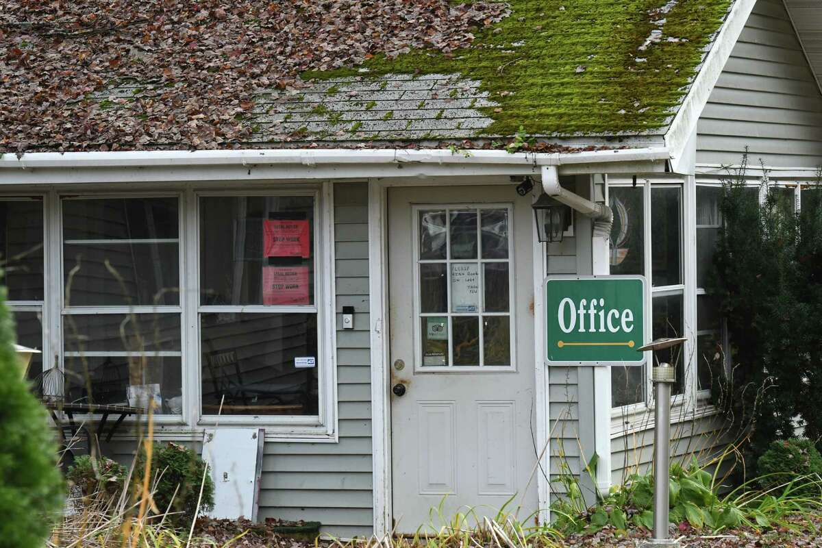 Office to the Crest Inn on Friday, Oct. 18, 2019, in Wilton, N.Y. The property is owned by the Hussain family, who also operated the limousine involved in the deadly Schoharie crash. Nauman Hussain, 29, and his family were trying to sell the motel for $1 million. (Will Waldron/Times Union)