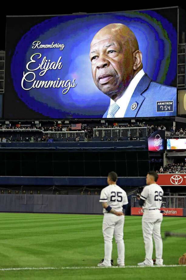 A moment of silence is held in honor of Elijah Cummings prior to game four of the American League Championship Series between the Houston Astros and the New York Yankees at Yankee Stadium on Oct. 17 in New York City. Photo: Elsa / Getty Images / 2019 Getty Images