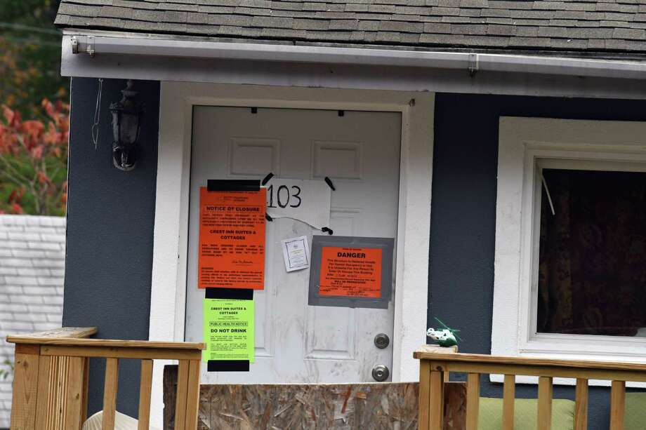 State Health Department closure notices are placed on doors at the Crest Inn on Friday, Oct. 18, 2019, in Wilton, N.Y. The property is owned by the Hussain family, who also operated the limousine involved in the deadly Schoharie crash. Nauman Hussain, 29, and his family were trying to sell the motel for $1 million. (Will Waldron/Times Union) Photo: Will Waldron, Albany Times Union