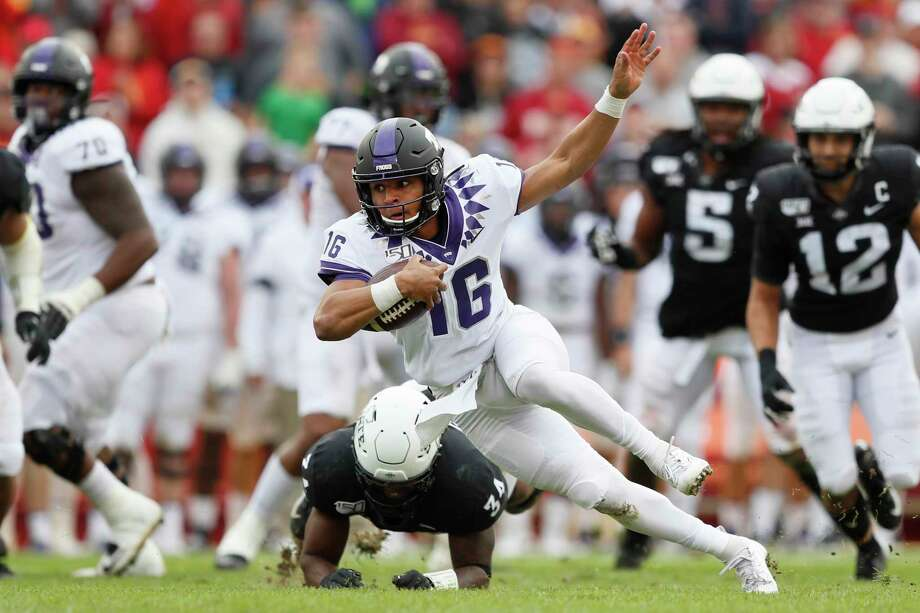 TCU quarterback Alex Delton (16) is tackled by Iowa State linebacker O'Rien Vance (34) during the first half of an NCAA college football game, Saturday, Oct. 5, 2019, in Ames, Iowa. (AP Photo/Charlie Neibergall) Photo: Charlie Neibergall, Associated Press / Copyright 2019 The Associated Press. All rights reserved