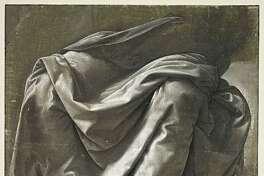 Leonardo da Vinci, Draperie Saint-Morys. Seated figure.