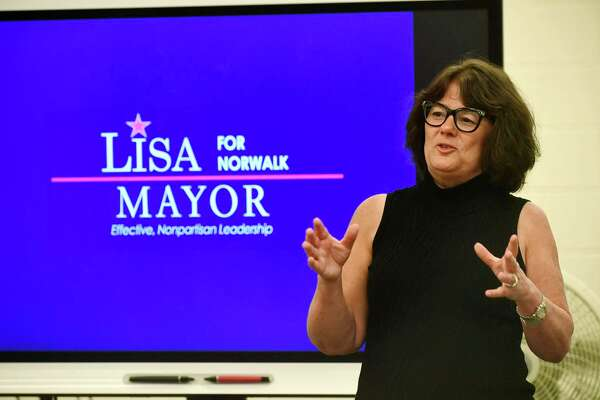 "Norwalk mayoral candidate Lisa Brinton hosts her second ""Community Conversation,"" Wednesday, October 16, 2019, at Norwalk High School."