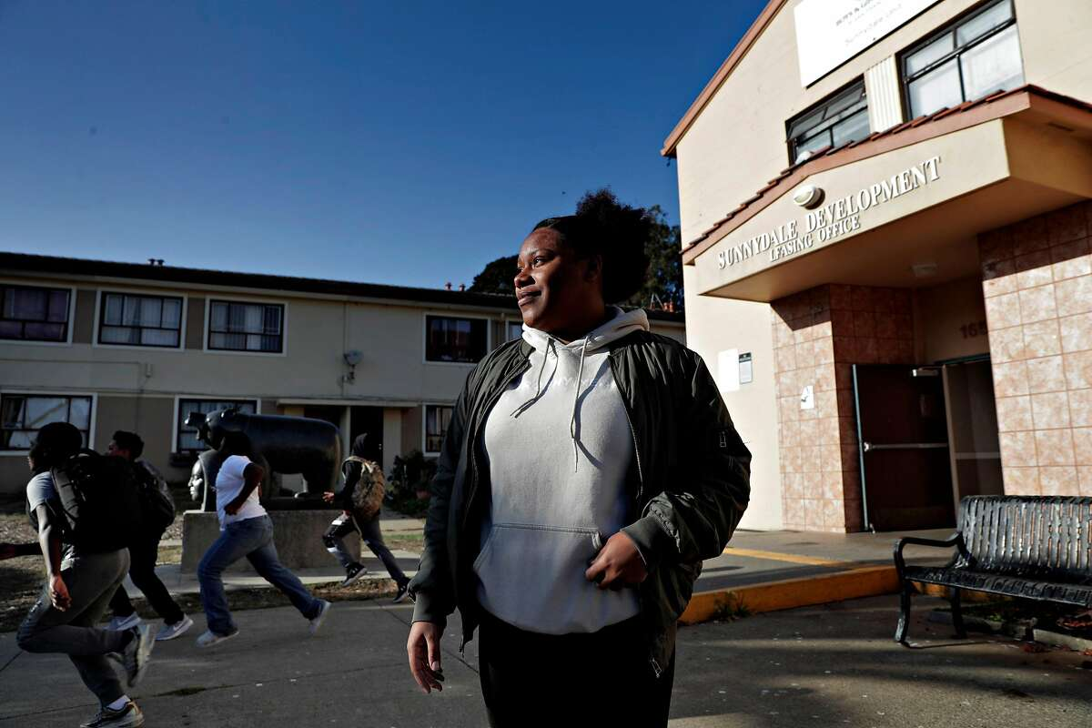 Breonna Frierson, the education director at the Sunnydale Boys and Girls Club, outside the facility in the Sunnydale-Velasco Housing Project, in San Francsico, Calif., on Thursday, October 17, 2019.