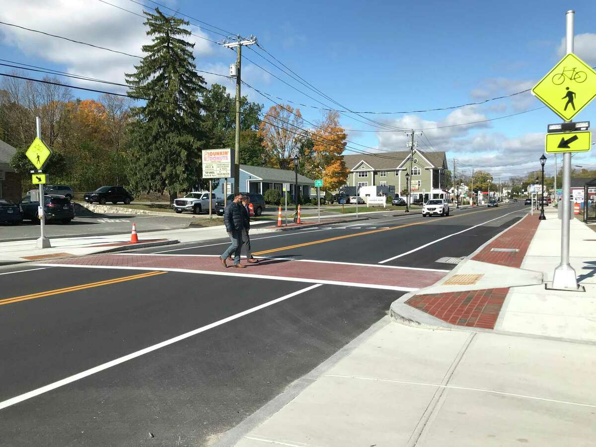A new pedestrian crosswalk was installed as part of phase two of Brookfield's streetscape project. Photo Friday, Oct. 18, 2019.