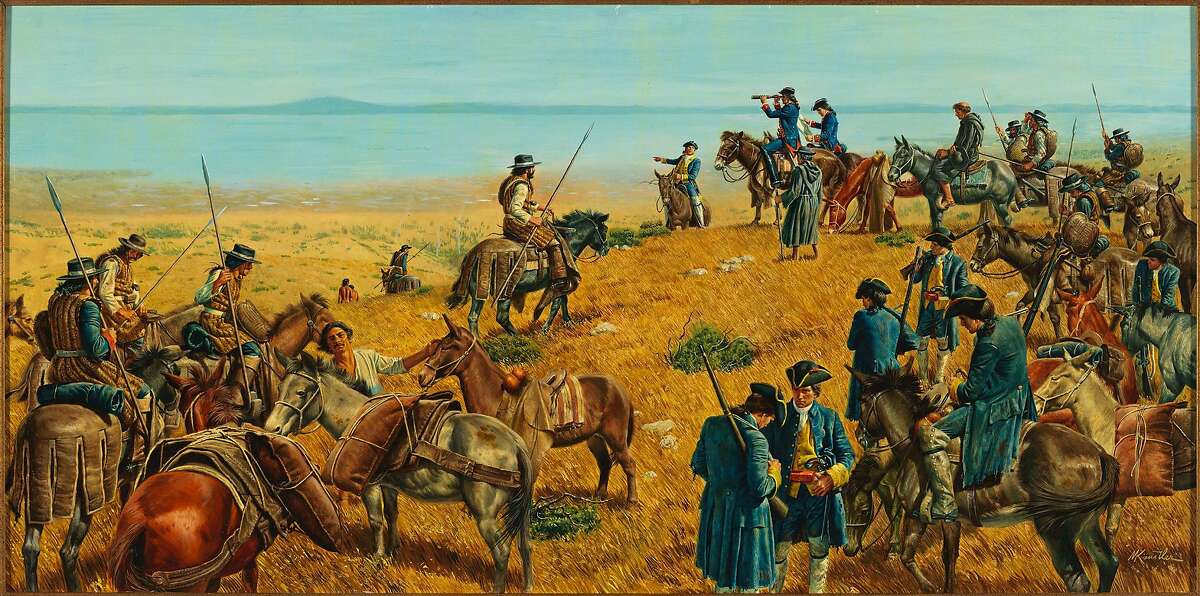 A painting by Morton Kunstler depicts the Spanish discovery of San Francisco bay on November 4, 1769.