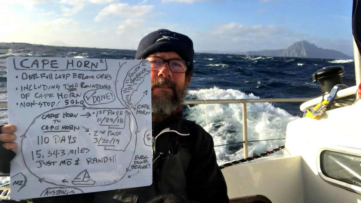 March 20, 2019 - With Cape Horn in thebackground, Randall Reeves commemoratesthe final of two Cape Horn passages on thetreacherous Figure 8 Voyage.